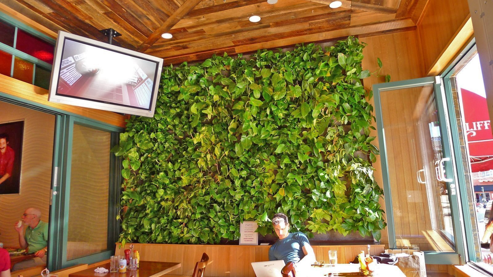 Chris Bribach, Plants On Walls. Fork Cafe, Florafelt Vertical Garden Planters.