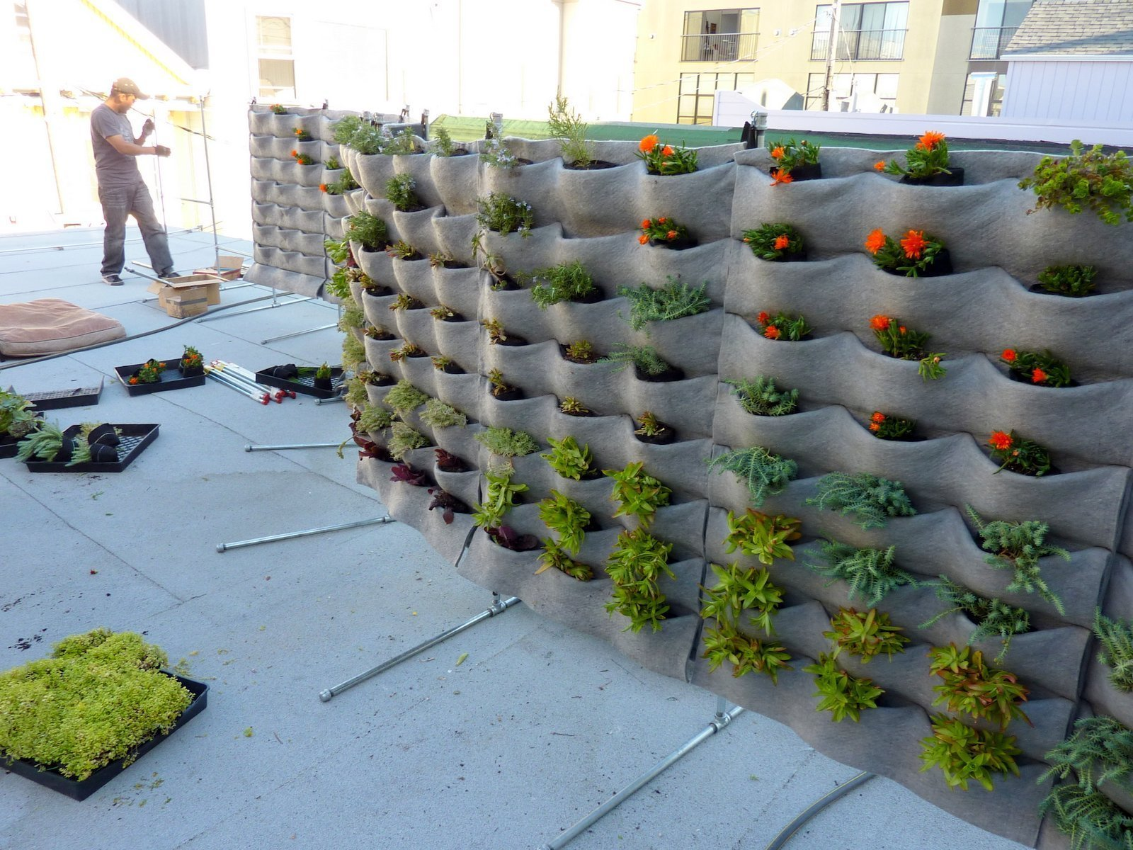 vertical screen stacked planter secured pin terra create using planters garden pots cotta and a privacy