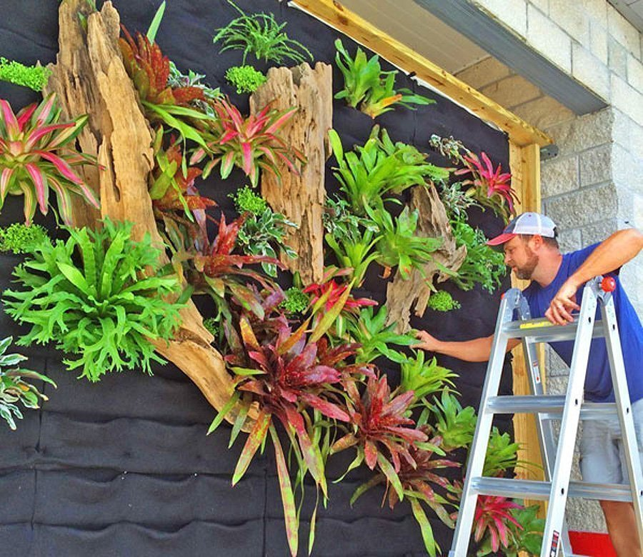 Florafelt Pockets Vertical Garden Installation by Seth Strottlemeyer of Oasis Gardenscapes.