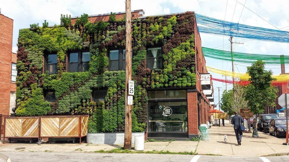 Florafelt Vertical Garden by Architect Marika-Shiori Clark for Cleveland's Hingetown Neighborhood