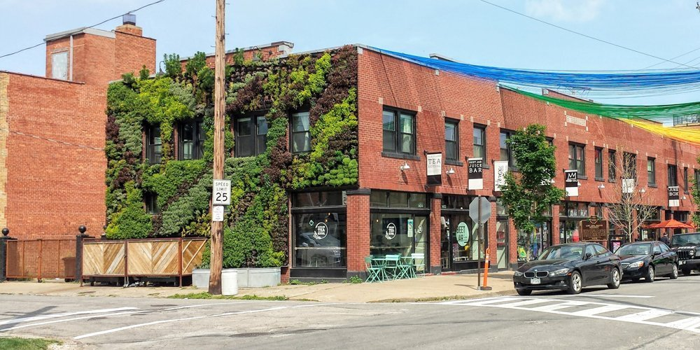 Florafelt Vertical Garden by Architect Marika-Shiori Clark for Cleveland's Hingetown Neighborhood