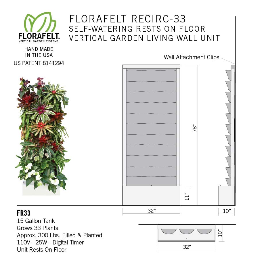 Florafelt Recirc 33-Pocket Wall Mounted Vertical Garden System