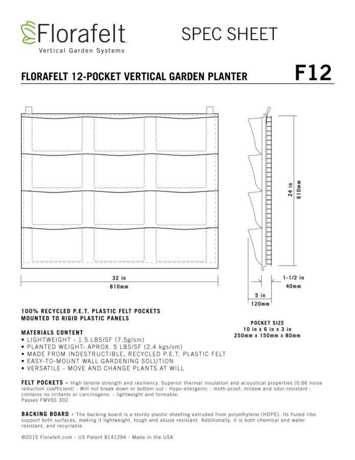 Florafelt 12 Pocket Vertical Garden Planter Specifications