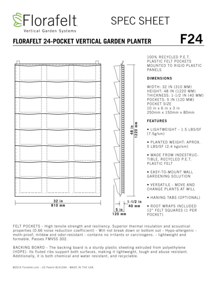 Florafelt 24 Pocket Vertical Garden Planter Specifications