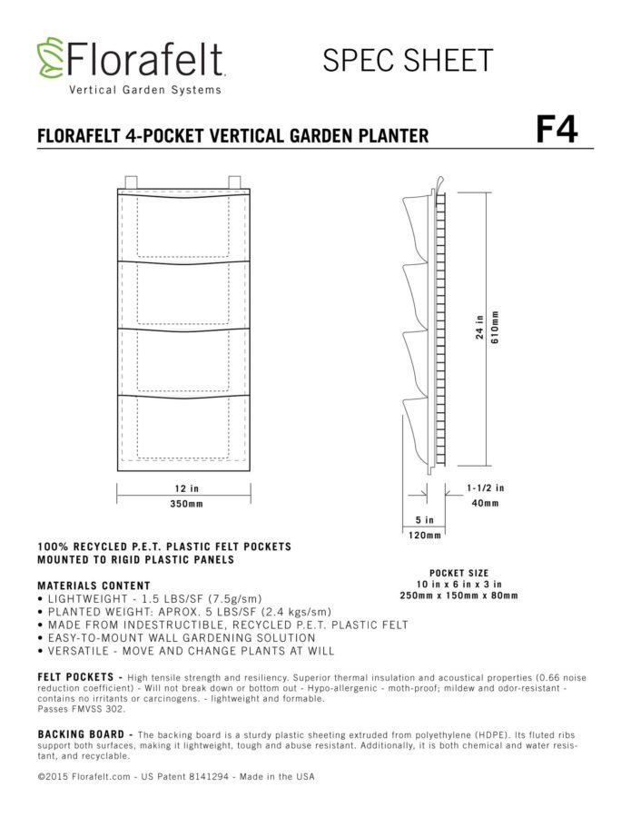 Florafelt 4 pocket Vertical Garden Planter Specifications