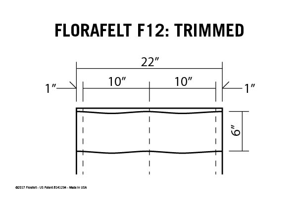 Florafelt Custom Sizing Guide F12 Trimmed Specs