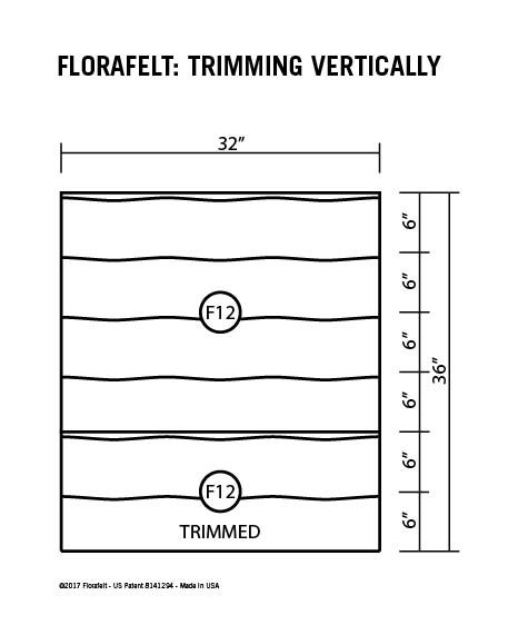Florafelt Custom Sizing Guide Vertical Trimming Specs