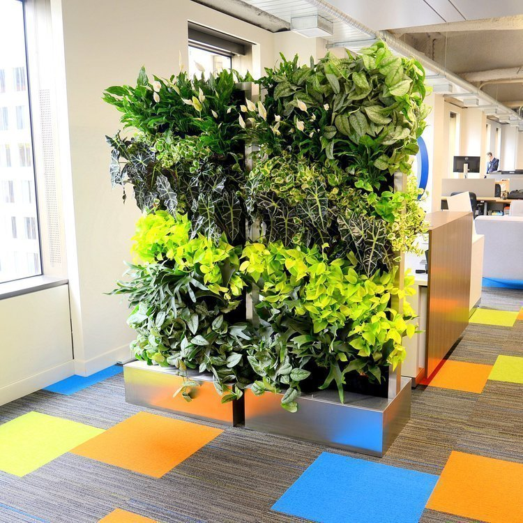 Double-sided Florafelt Recirc 33x2 units in brushed stainless for Trafacta San Francisco