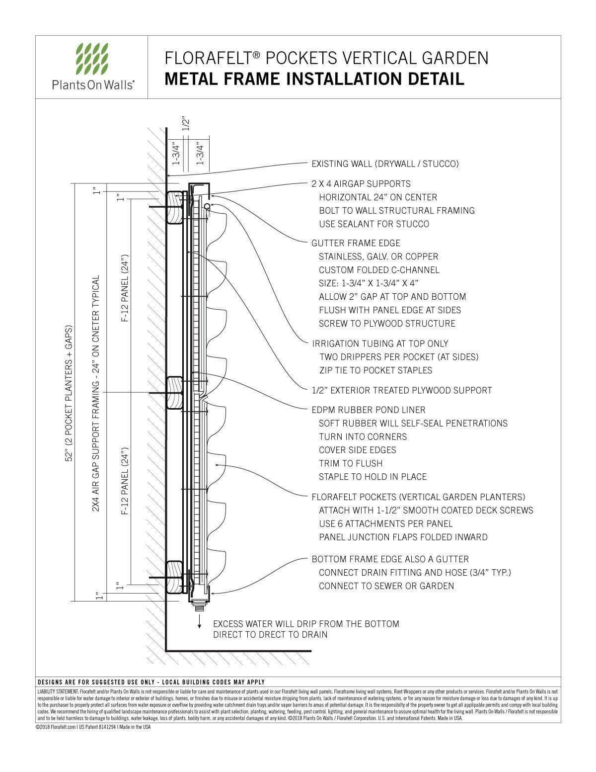 Florafelt-Pockets-Mounting-Metal-Frame-Installation-Detail | Plants ...
