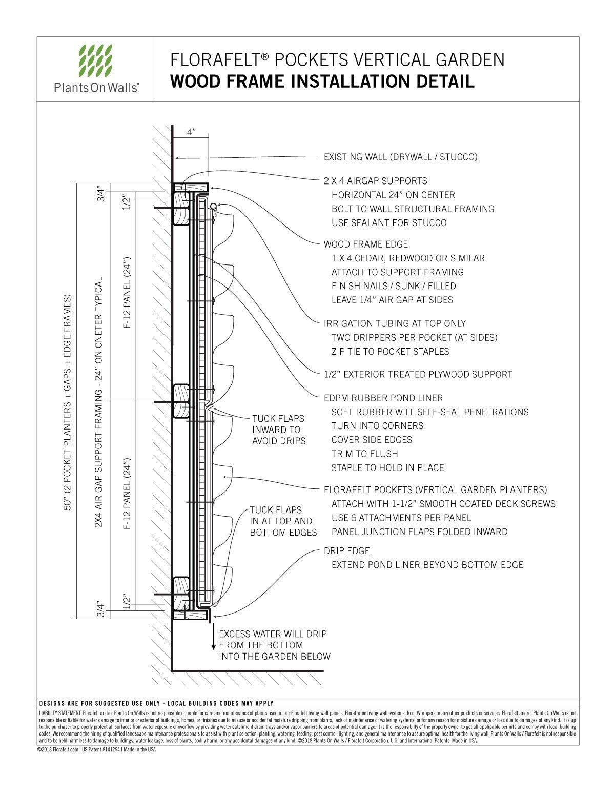 Florafelt-Pockets-Mounting-Wood-Frame-Installation-Detail | Plants ...