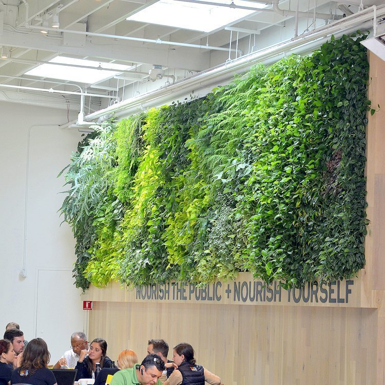 Florafelt Pro System Vertical Garden by Brandon Pruett, Living Green Design. Emeryville Marketplace Living Wall.