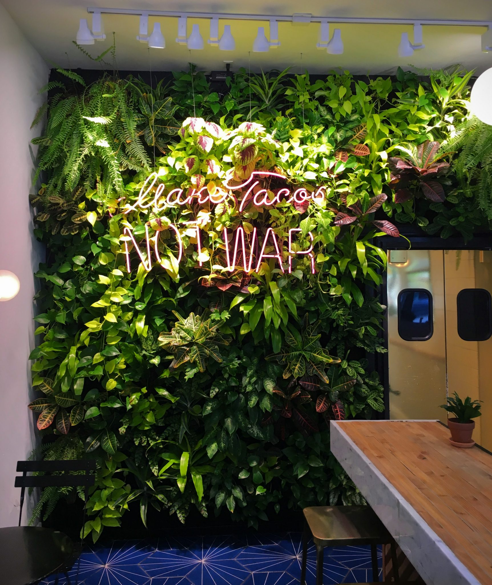 Florafelt Pockets Living Wall For Taco Tu Madre Los Angeles By Mitzy Florals