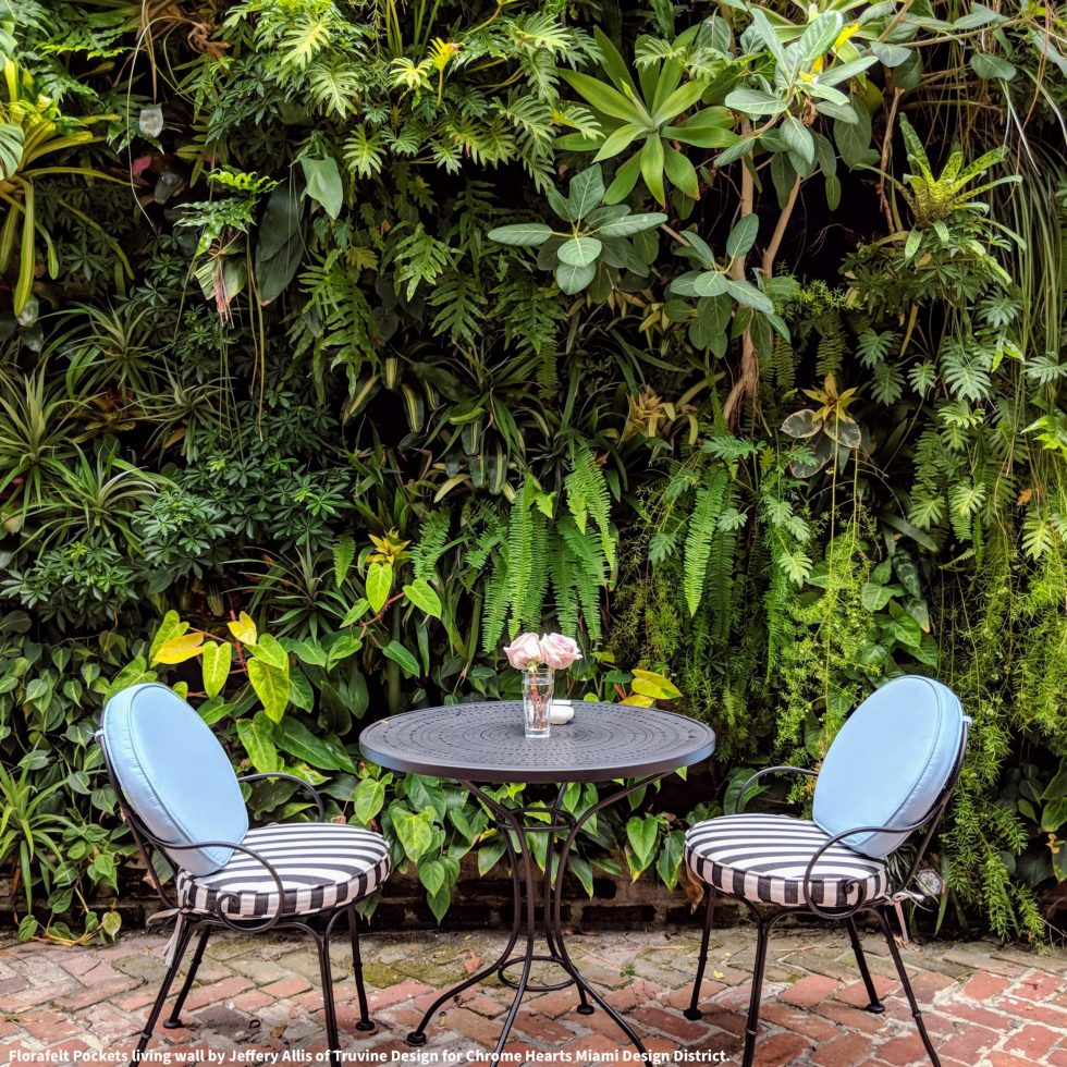Florafelt Pockets living wall by Jeffery Allis of Truvine Design for Chrome Hearts Miami Design District.
